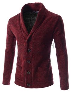 (JGA27-RED) Mens Slim Fit Basic Knitwear Shawl Collar 2 Pocket Cardigan Sweater