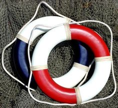 """Nautical Life Rings, Raft, Buoy, Preserver Reproductions ~ 20"""" Painted Solid… Seashore Decor, Boat Shed, Beach Items, Red Walls, Rafting, Wall Mount, Nautical, Rings, Projects"""