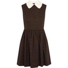 Miu Miu Wool and cotton-blend mini dress (2.850 BRL) ❤ liked on Polyvore featuring dresses, black, collared dresses, flower print dress, fringe mini dress, fringe dresses and floral print dress