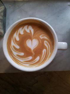Hanging heart latte art