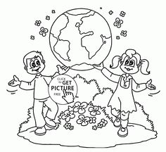 Kids showing Earth - Earth Day coloring page for kids, coloring pages printables free - Wuppsy.com