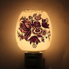3 14 Delicate Purple Fl Pattern Aroma Ceramic Night Light Plug In Lamp