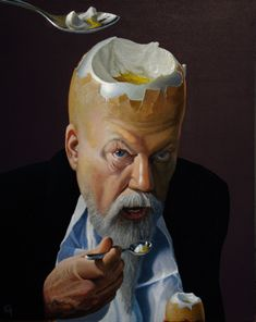♂ Dream imagination surrealism surreal art man with egg head eating egg Ole Fick