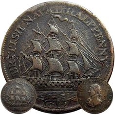 "War of 1812 Admiral Nelson ""SAILING SHIP"" HALFPENNY! sku #A75"