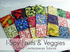 Pieces by Polly: I-Spy Fruits and Veggies - Quilted Hot Pads Tutorial