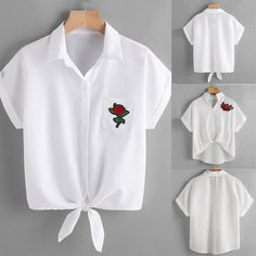 Womens Blouse Shirt Ladies Rose Flower Embroidered Blouses Short Sleeve Shirt