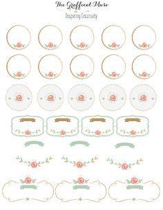 Vintage Labels Free Printable Pink Floral Labels and Stickers: Printable Lables, Printable Stickers, Printable Planner, Planner Stickers, Free Printables, Floral Printables, Ramadan Decoration, Soap Labels, Labels Free