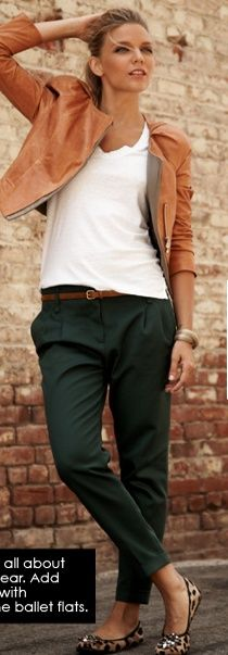 Cheetah flats or wedges, white top, tan leather jacket, green pants