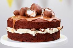 Creme Egg cake recipe - goodtoknow... Creme Egg cake made with a rich chocolate sponge and plenty of Creme Eggs is the only cake you need to make for Easter, whether for afternoon tea or Easter dessert. Never have so many Creme Eggs featured in one gorgeous cake...