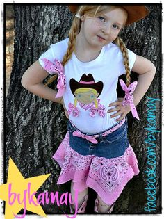 Cowgirl skirt and shirt set- comes with 2 matching hair bows. $48.00, via Etsy.
