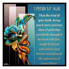 That the trial of your faith, being much more precious than of gold that perisheth, though it be tried with fire, might be found unto praise and honour and glory at the appearing of Jesus Christ:             1 Peter 1:7 KJV