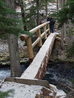 Rock Forest Service Trail Crews build a log bridge over Spring Creek Garden Paths, Garden Bridge, Bridge Design, Forest Road, Forest Service, Wood Bridge, Farm Gardens, Backyard Landscaping, Backyard Ideas