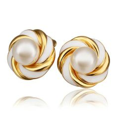 18K Gold Plated Pearl Stud Earrings for Women Fashion Jewelry | Your #1 Source for Jewelry and Accessories