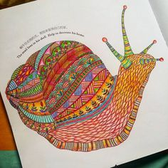 «#animalkingdom #milliemarotta #snail #snailhouse #adultcoloringbook #colouringfun  sometime we have to slow down our footsteps  to see the world ☺»