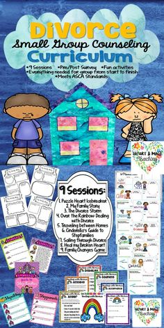 Divorce Changing Families Small Group Counseling Curriculum. Features 9 lesson plans that meet ASCA standards, fun and engaging activities, script and session descriptions, pre/post survey, plus ALL the forms you need for group from start to finish! Must have for any school counselor. SEL, My family and me. (scheduled via http://www.tailwindapp.com?utm_source=pinterest&utm_medium=twpin)