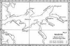 Map of the Narvik area, northern Norway, in 1940