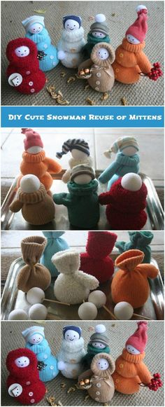 DIY Cute Snowman Reuse of Mittens   DIY Crafts Tips