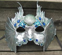 Silver Venetian Water spirit masquerade mask with blue and green gems, Mer