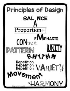 'Ask your students to pick a principle from the poster and explain how the word illustrates its meaning, or use this poster to help your students during an art critique; ask them to pick a Principle of Design and explain how a select work of art uses that Elements And Principles, Elements Of Art, Classroom Posters, Art Classroom, Art Room Rules, Principals Of Design, Art Critique, Art Basics, Art Worksheets