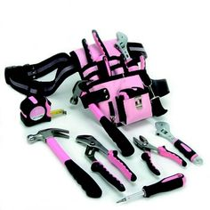In the past, I have actually painted flowers on my tools and tool belt just so my husband wouldn't take them. But that did not detour him, so this is my next move.  Just get everything in pink!