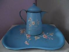 Antique French enamelware coffeepot & tray, blue