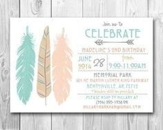 Modern Tribal Feathers Birthday Party Invitation (PRINTABLE FILE ONLY)