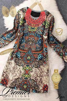 Printed Round Neck Long Sleeve Straight Dress perfect for a tunic and and  leggings 0f4412452a