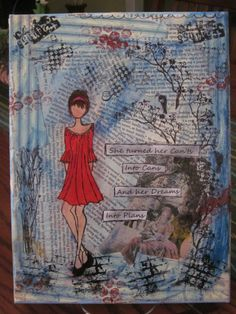 Mixed media canvas with prima doll stamp created by carmenwhitehead