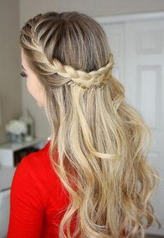penteado de festa trança madrinha formatura solto meia cola com tranças liso ondulado loiro comprido médio curto