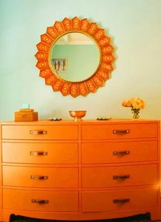 Orange dresser, leather drawer pulls.  Perfect for Max's big boy room.
