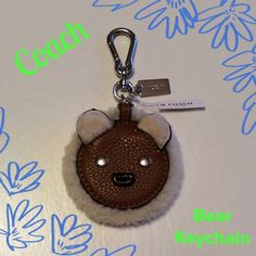 NWT   COACH BEAR KEYCHAIN Adorable bear with cute face crafted from leather and shearling.  Priced to sell!!! Coach Accessories Key & Card Holders