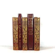 Burgundy Gold Brown Decorative Books Vintage by DecadesOfVintage, $35.00