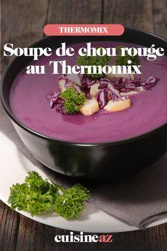 La soupe de chou rouge au Thermomix est une bonne idée de recette pour utiliser un reste de chou rouge.  #recette#cuisine#soupe#chou #chourouge #robotculinaire #thermomix 20 Min, C'est Bon, Robot, Pudding, Desserts, Cream Soups, Sprouts, Cooking Recipes, Tailgate Desserts