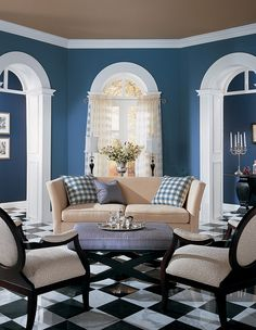 Best Living Room Wall Colors English Furniture 107 Inspiring Paint Images Dining Color Symphony Blue Santa Monica Beach House Beige Cloud