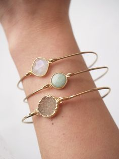 Bridesmaid Gift Idea: Stackable Bangle Bracelets by Cate Katan on Etsy http://www.mood-ringcolormeanings.com/mood-bracelet.html