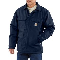 6d3678f7aab1 Carhartt X-Large Tall Dark Navy 13 Ounce Cotton Duck Flame Resistant  Traditional Coat With Zipper Closure