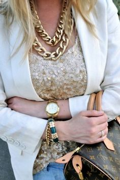 sequins and chunky jewelry with a neutral blazer...classic gets an update
