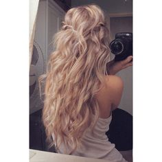 Long Blonde Curls ❤ liked on Polyvore featuring beauty products, haircare, hair styling tools, hair, beauty, hair styles and hairstyles