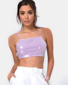 3467964b95 Backless Mini Sequin Lilac Crop Top