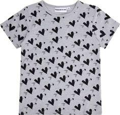 T-shirt gris coeurs