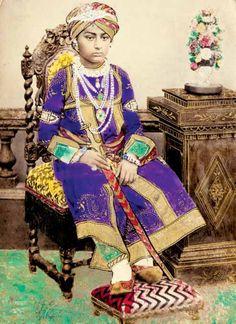 Painted photograph of Maharao Khengarji Pragmalji iii (b. 1866, r. 1876-1942) of Kutch, 1879  Image from Posing for Posterity: Royal Indian Portraits by Pramod Kumar (I.B. Tauris)