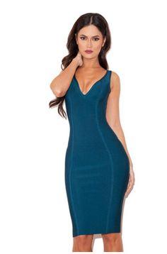 Calista Peacock Blue V neck Bandage Dress