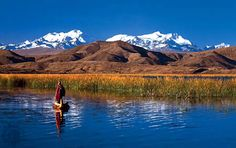 Lake Titicaca - on the border of Bolivia and Peru. It is the highest commercially navigable lake in the world and is the largest in S. America.
