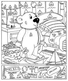 View and print this Hidden Pictures Baby Bear. Get your free Hidden Pictures pages at All Kids Network Puzzles For Kids, Activities For Kids, Hidden Pictures Printables, Hidden Picture Puzzles, Hidden Picture Games, Hidden Images, Hidden Pics, Bear Graphic, Paper Games