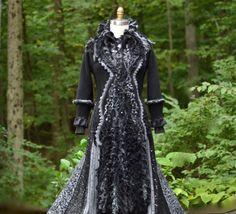 Sweater COAT gray black long corset style boho up by amberstudios