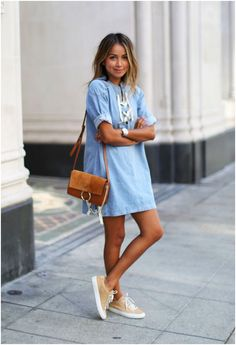 How can anyone ever say no to a denim shirt dress? Wear it casually with a pair of sneakers, or dress it up with a pair of strappy wedges! | Mesonista