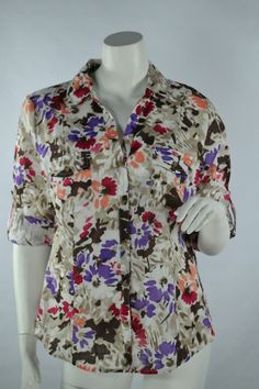 Karen Scott Sheer Button Up Blouse Chestnut Floral Print 3/4 Button Sleeve Sz M #KarenScott #Blouse #Casual