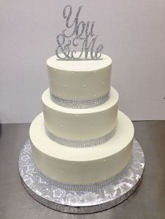 rhinestone ribbon with pin dots and sparkle topper www.weddingsbyholiday.com