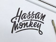 Hassan Monkey by PAACK Nicolas Garcia #lettering, #typography, #calligraphy, #script, #type, #typeface, #font, #cursive, #sketch, #paper, #handdrawn, #drawing, #inspire, #pencil, #writing, #art #GraphicGang