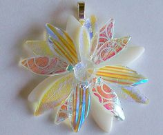 Fused Glass Dichroic Clear and Cream Pendant/ necklace by CDChilds